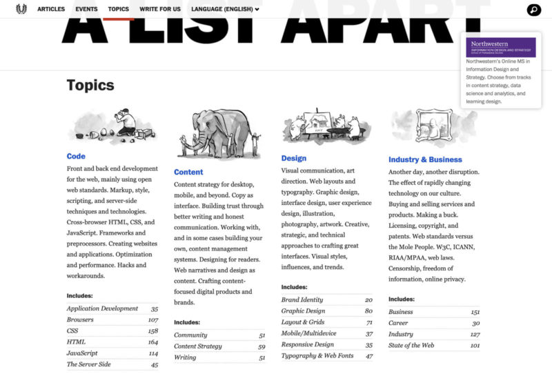 "A List Apart website with the categories ""Code"", ""Content"", ""Design"" and ""Industry & Business""."