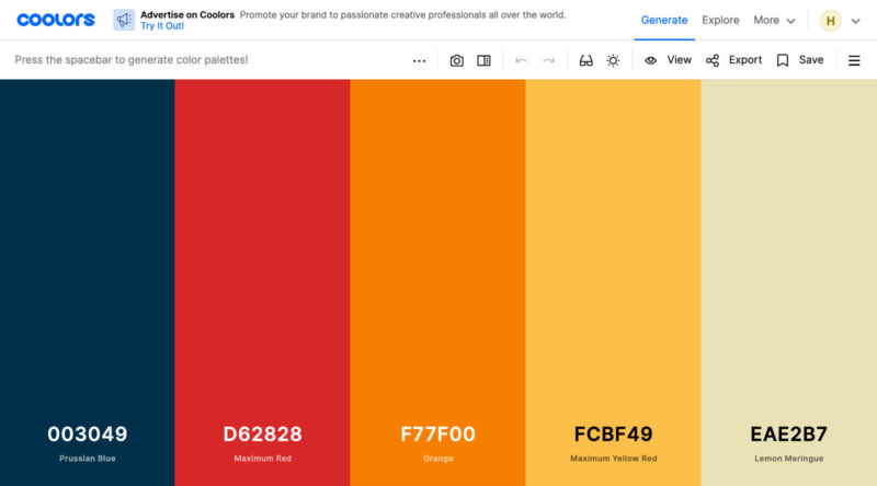 Coolors website with a warm color palette.