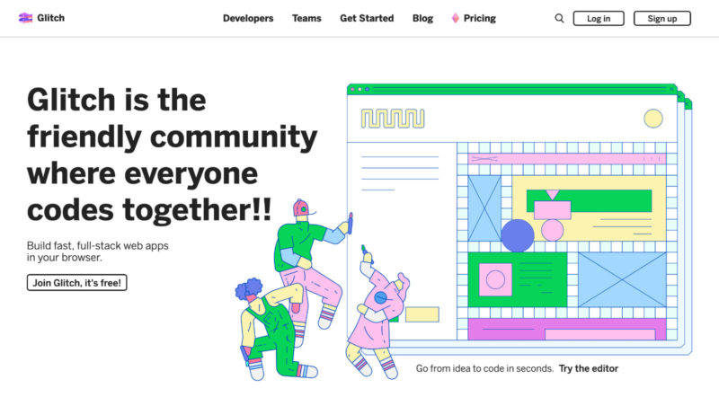 "Glitch website saying ""Glitch is the friendly community where everyone codes together!!""."